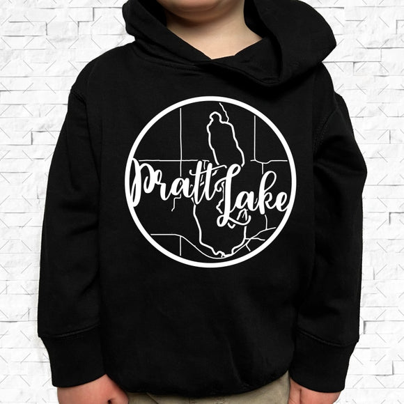 toddler-sized black hoodie with Pratt Lake hometown map design