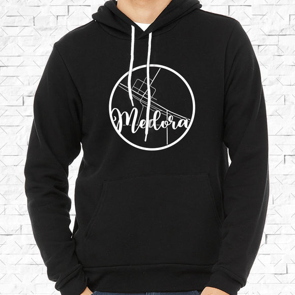 adult-sized black hoodie with white Medora hometown map design