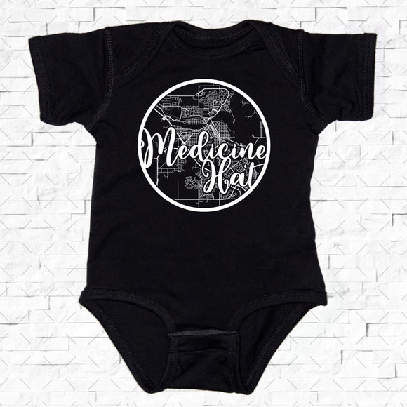 baby-sized black short-sleeved onesie with Medicine Hat hometown map design