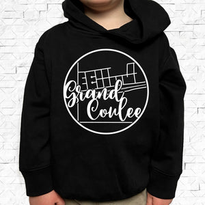 toddler-sized black hoodie with Grand Coulee hometown map design