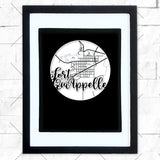 Close-up of Fort Quappelle hometown map design in black shadowbox frame with white matte