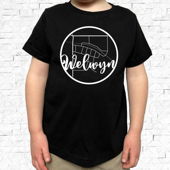 toddler-sized black short-sleeved shirt with white Welwyn hometown map design