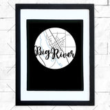 Close-up of Big River hometown map design in black shadowbox frame with white matte