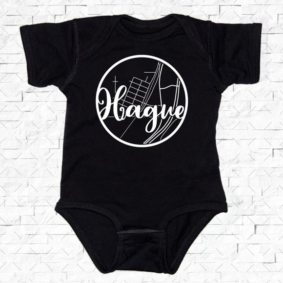 baby-sized black short-sleeved onesie with Hague hometown map design