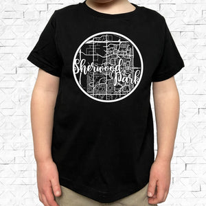 toddler-sized black short-sleeved shirt with white Sherwood Park hometown map design