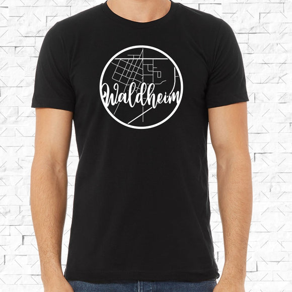 adult-sized black short-sleeved shirt with white Waldheim hometown map design