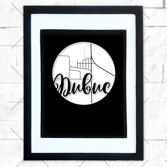 Close-up of Dubuc hometown map design in black shadowbox frame with white matte