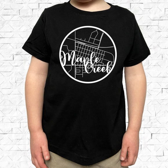 toddler-sized black short-sleeved shirt with white Maple Creek hometown map design