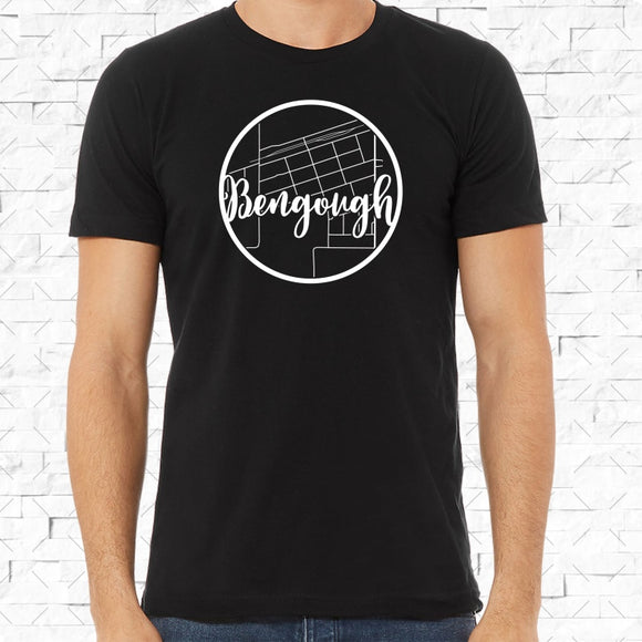 adult-sized black short-sleeved shirt with white Bengough hometown map design