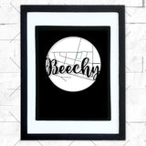 Close-up of Beechy hometown map design in black shadowbox frame with white matte