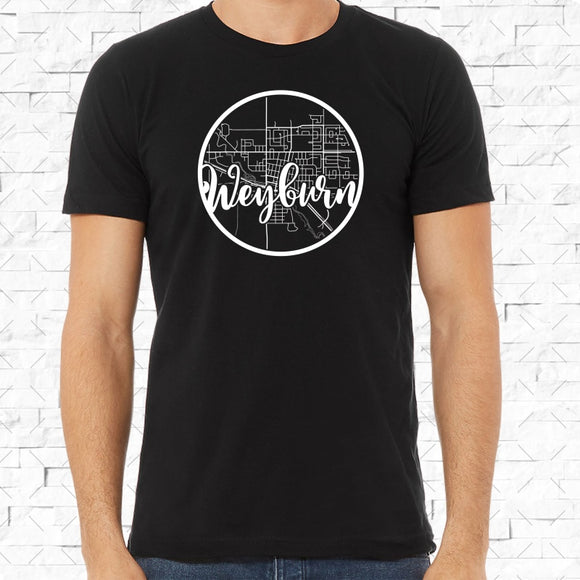 adult-sized black short-sleeved shirt with white Weyburn hometown map design