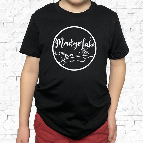 youth-sized black short-sleeved shirt with white Madge Lake hometown map design