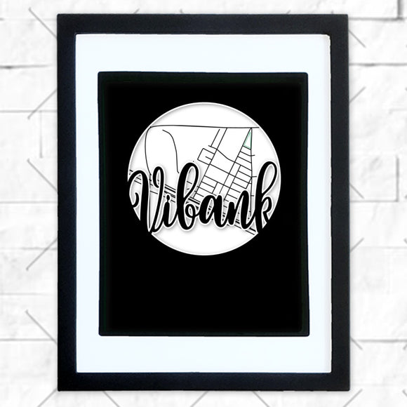 Close-up of Vibank hometown map design in black shadowbox frame with white matte