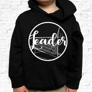 toddler-sized black hoodie with Leader hometown map design