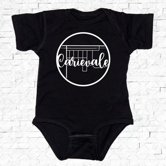 baby-sized black short-sleeved onesie with Carievale hometown map design