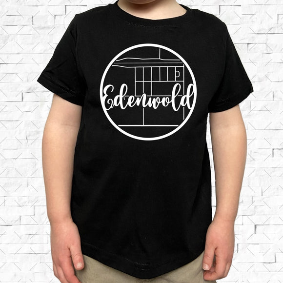 toddler-sized black short-sleeved shirt with white Edenwold hometown map design