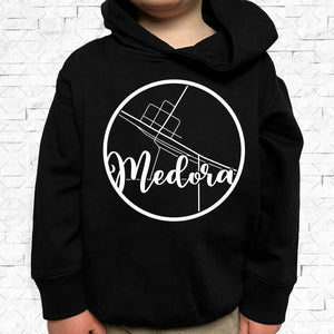toddler-sized black hoodie with Medora hometown map design