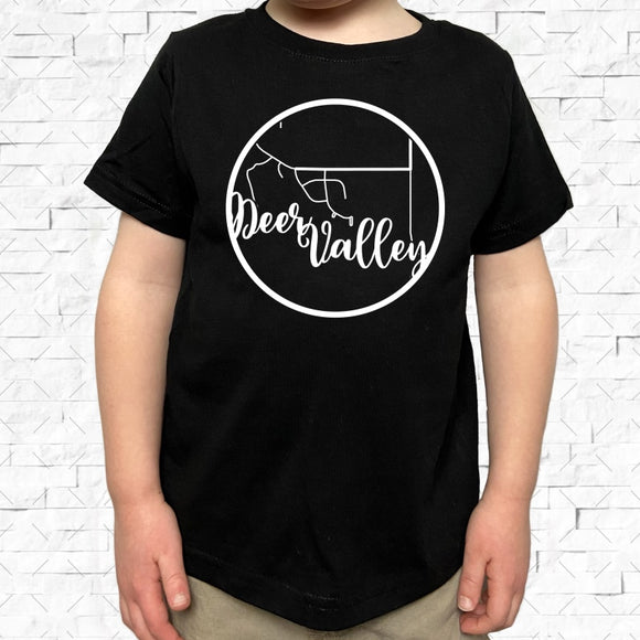 toddler-sized black short-sleeved shirt with white Deer Valley hometown map design
