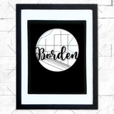 Close-up of Borden hometown map design in black shadowbox frame with white matte