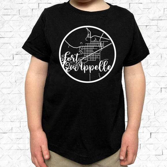 toddler-sized black short-sleeved shirt with white Fort Quappelle hometown map design