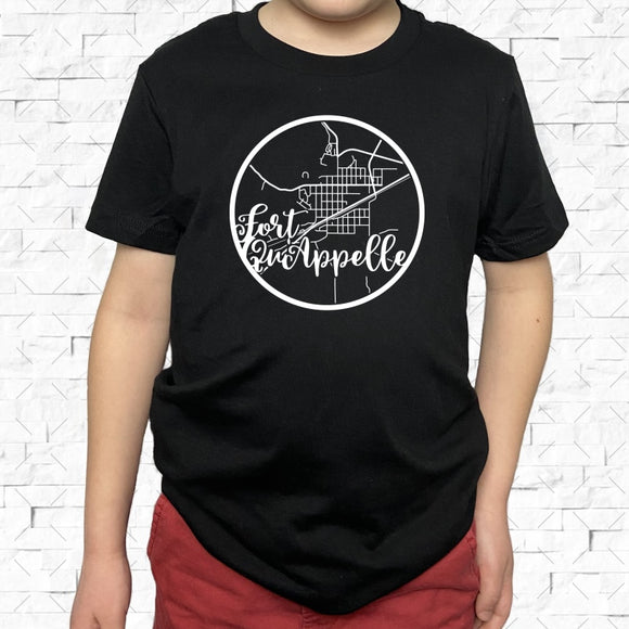 youth-sized black short-sleeved shirt with white Fort Quappelle hometown map design