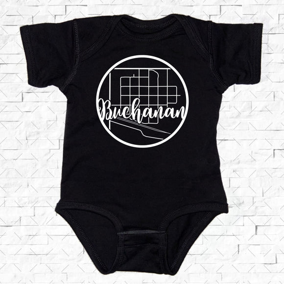 baby-sized black short-sleeved onesie with Buchanan hometown map design