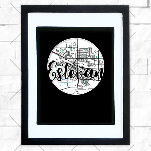 Close-up of Estevan hometown map design in black shadowbox frame with white matte
