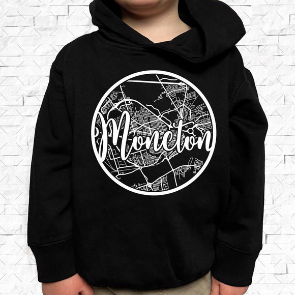 toddler-sized black hoodie with Moncton hometown map design