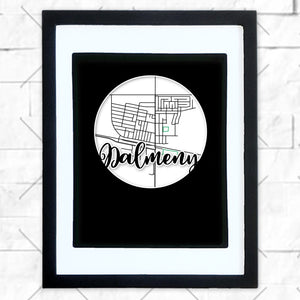 Close-up of Dalmeny hometown map design in black shadowbox frame with white matte
