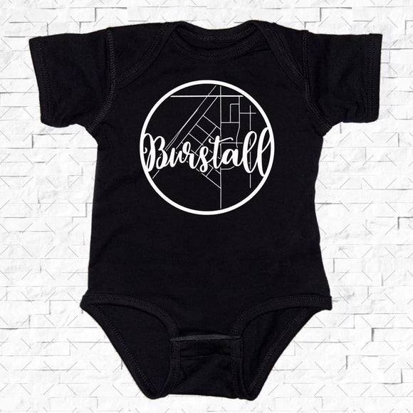 baby-sized black short-sleeved onesie with Burstall hometown map design