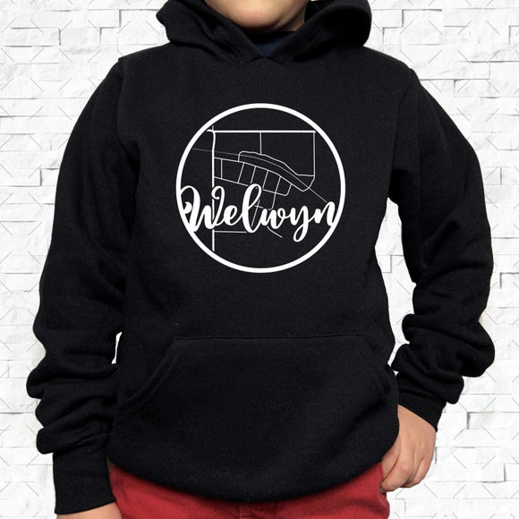 youth-sized black hoodie with white Welwyn hometown map design