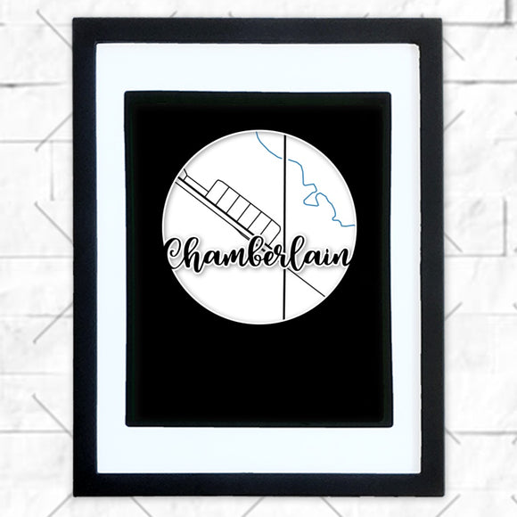 Close-up of Chamberlain hometown map design in black shadowbox frame with white matte