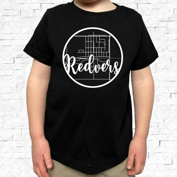 toddler-sized black short-sleeved shirt with white Redvers hometown map design