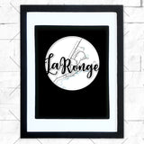 Close-up of La Ronge hometown map design in black shadowbox frame with white matte