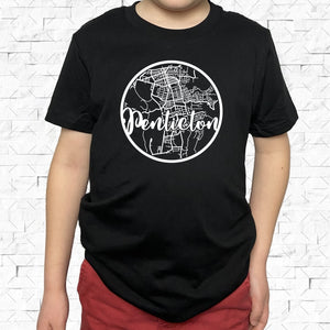 youth-sized black short-sleeved shirt with white Penticton hometown map design