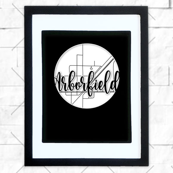 Close-up of Arborfield hometown map design in black shadowbox frame with white matte