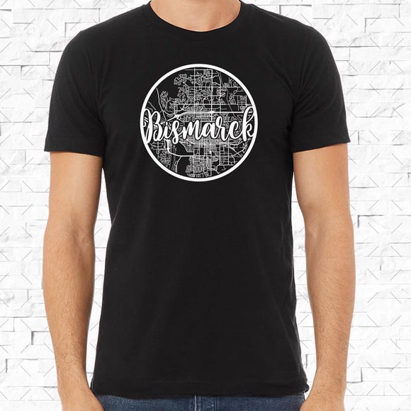 adult-sized black short-sleeved shirt with white Bismarck hometown map design