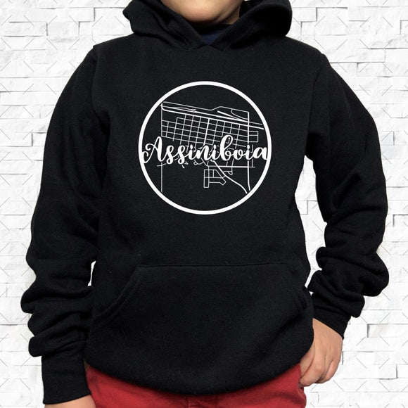 youth-sized black hoodie with white Assiniboia hometown map design