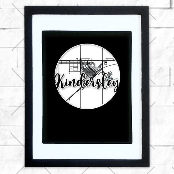 Close-up of Kindersley hometown map design in black shadowbox frame with white matte