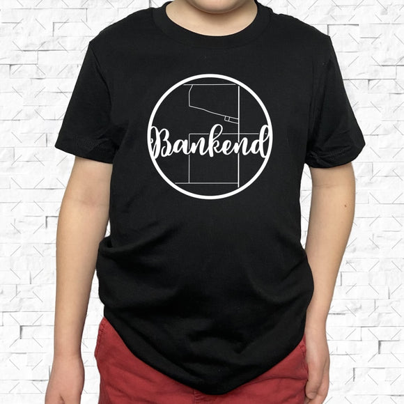 youth-sized black short-sleeved shirt with white Bankend hometown map design