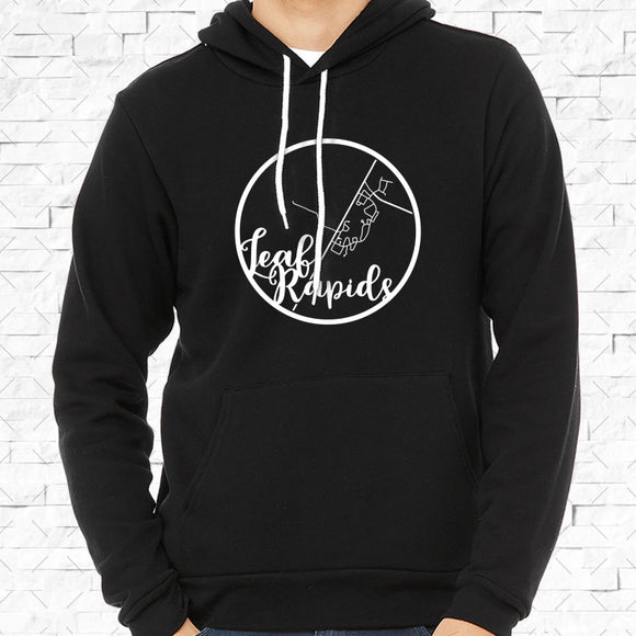 adult-sized black hoodie with white Leaf Rapids hometown map design
