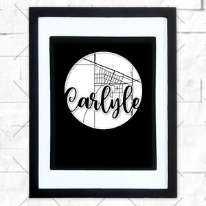Close-up of Carlyle hometown map design in black shadowbox frame with white matte