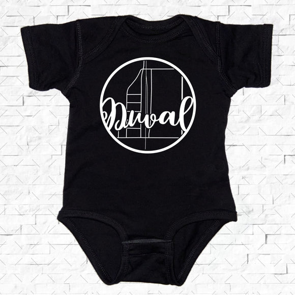 baby-sized black short-sleeved onesie with Duval hometown map design