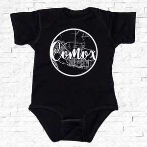 baby-sized black short-sleeved onesie with Comox hometown map design