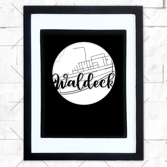 Close-up of Waldeck hometown map design in black shadowbox frame with white matte