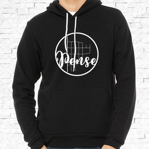 adult-sized black hoodie with white Pense hometown map design