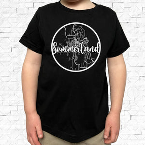 toddler-sized black short-sleeved shirt with white Summerland hometown map design