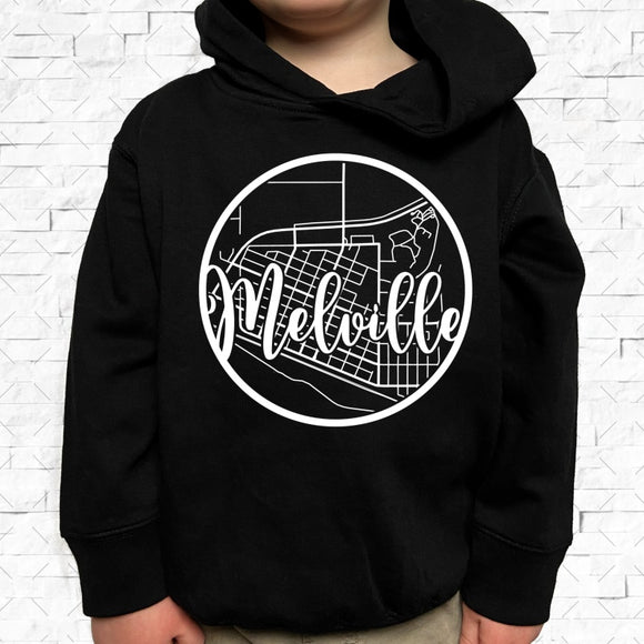 toddler-sized black hoodie with Melville hometown map design