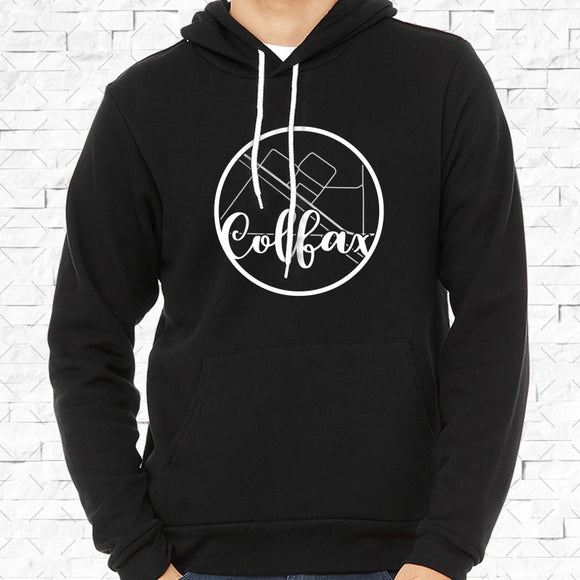 adult-sized black hoodie with white Colfax hometown map design