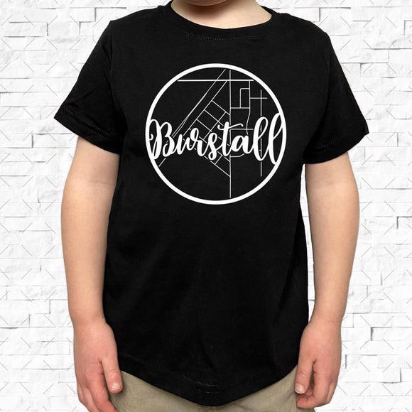toddler-sized black short-sleeved shirt with white Burstall hometown map design